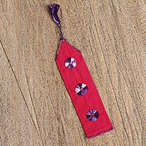Red Hand Woven Cotton Bookmark with Embroidery 'Book Lover'