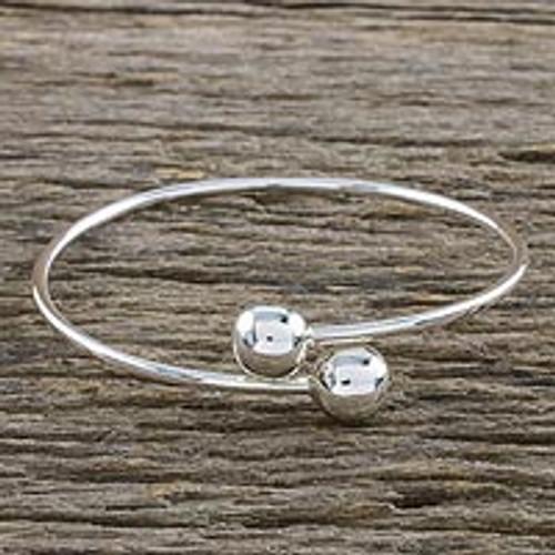 Sterling Silver Bangle Bracelet 'Silver Friends'