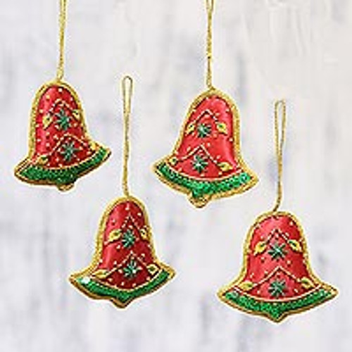 Set of Four Red Green Sequin Beaded Holiday Bell Ornaments 'Vibrant Bells'