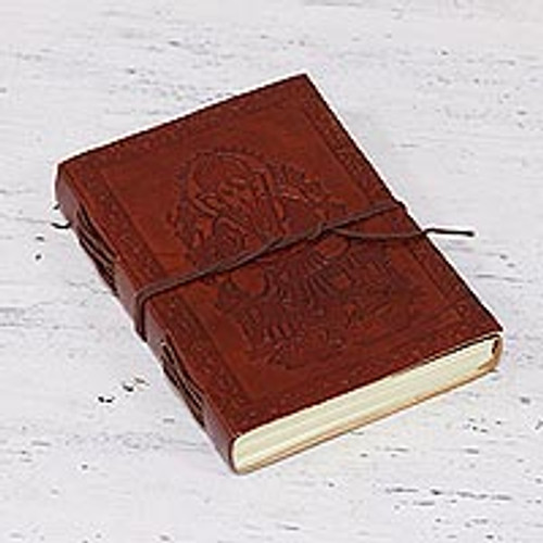 Embossed Leather Bound Handmade Paper Lord Ganesha Journal 'Lord Ganesha'