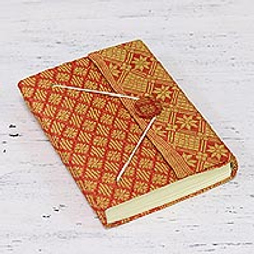 Diamond Fabric Cover Handmade Paper Journal from India 'Indian Grace'