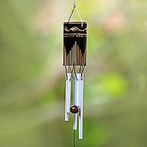 Bamboo and Aluminum Wind Chime Hand Made in Bali 'Singing Vines'