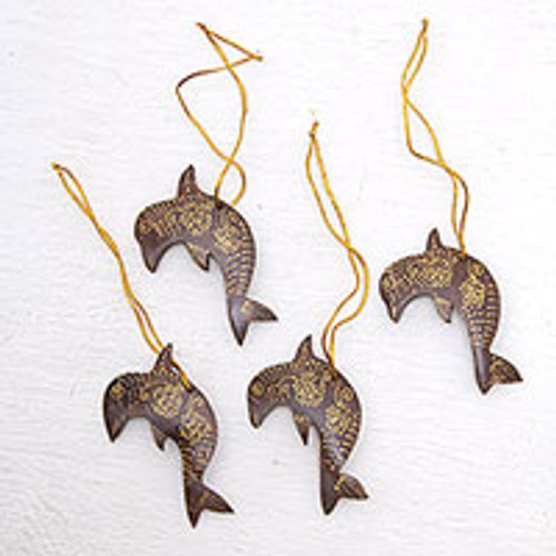 Set of 4 Handmade Brown Coconut Shell Dolphin Ornaments 'Dolphin Echo'