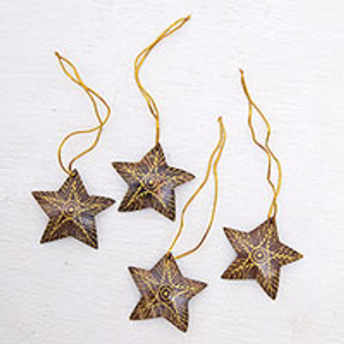 Set of 4 Handmade Brown Coconut Shell Star Ornaments 'Bright Lights in the Sky'