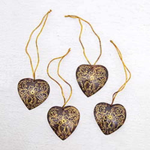 Set of 4 Handmade Brown Coconut Shell Heart Ornaments 'With Our Hearts'
