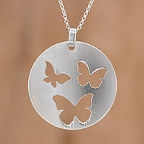 Sterling Silver Butterfly Pendant Necklace from Costa Rica 'Butterfly Flight'