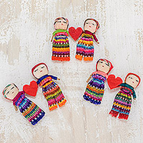 Two Guatemalan Worry Dolls with 100% Cotton Pouch 'Love and Hope'
