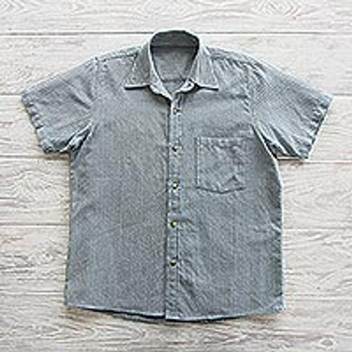 Blue Striped Short-Sleeved Men's Cotton Shirt 'Pacific Ocean'
