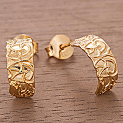 Gold Plated Sterling Silver Half-Hoop Earrings from Peru 'Sidereal Beauty'