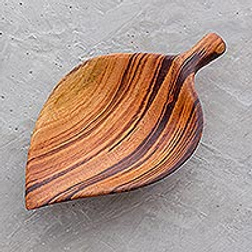 Leaf-Shaped Wood Appetizer Bowl from Guatemala 'Jungle Delicacies'