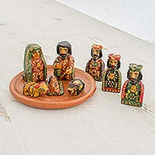 Nine Piece Miniature Pinewood Nativity Scene from Guatemala 'Love in Bethlehem'