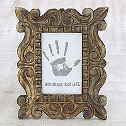 Hand-Carved Natural Mango Wood Ornate Photo Frame 4x6 'Mughal Majesty'
