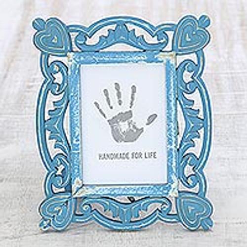 Hand-Carved Blue Shabby-Chic Mango Wood Photo Frame 5x7 'Memory Keeper'