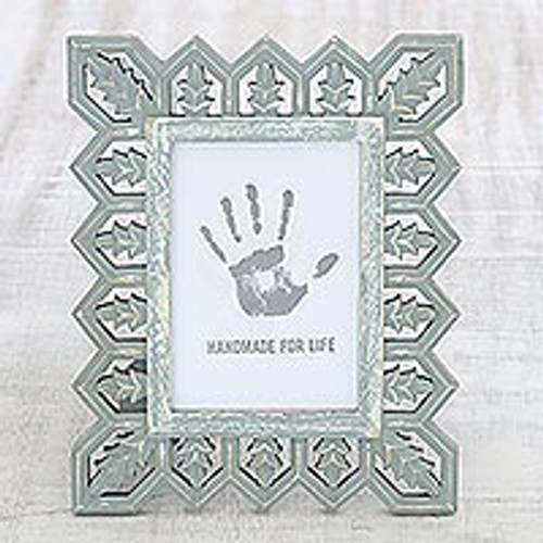 Light Grey Distressed Hand Carved Mango Wood Photo Frame 5x7 'Garden Gate'