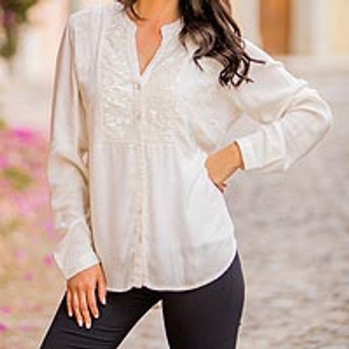 Indian Rayon Shirt with Embroidery and Sequins 'Sikkim Style'