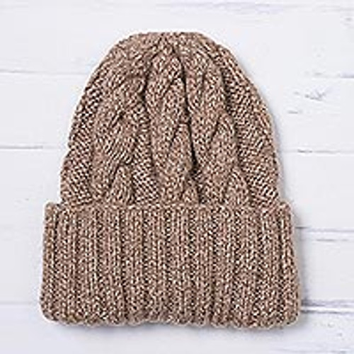 Unisex Beige Alpaca Blend Cabled Hand Knit Cap from Peru 'Salted Caramel'