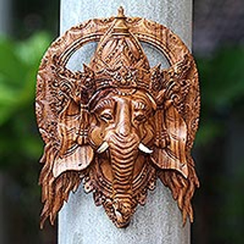 Lord Ganesha Hand Carved Wood Decorative Wall Mask from Bali 'Natural Ganesha'