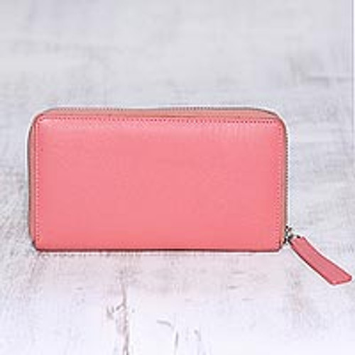 Carnation Pink and Aqua Zippered Leather Wallet from India 'Retro Chic'