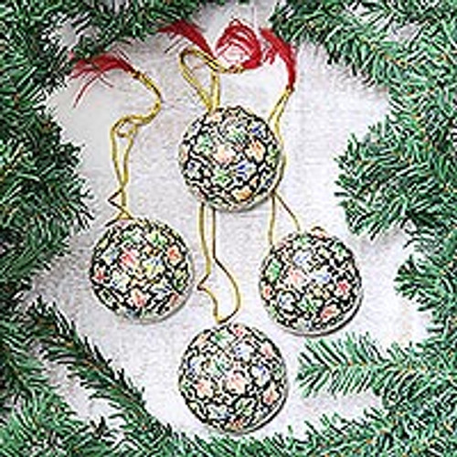 Hand-Painted Papier Mache Holiday Ornaments (Set of 4) 'Holiday Charm'