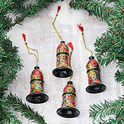 Colorful Papier Mache Bell Ornaments from India (Set of 4) 'Floral Cheer'