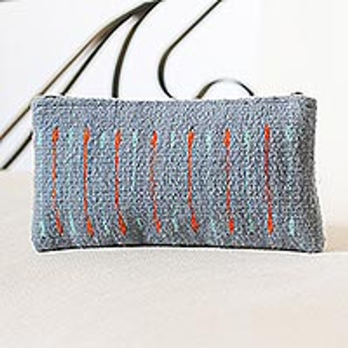 Azure and Orange Line Motif Handwoven Wool Cosmetics Case 'Attention'