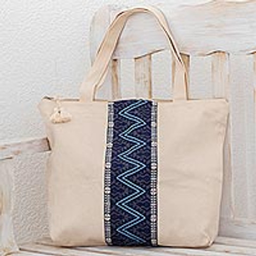 Handwoven Cotton Tote in Ivory from Guatemala 'Zigzag Lake'