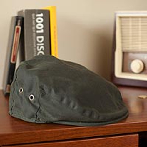 Irish Vintage Green Waxed Cotton Cap 'Wayfarer'
