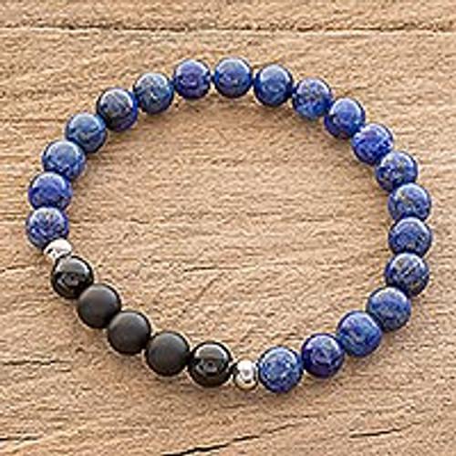 Men's Lapis Lazuli and Agate Beaded Stretch Bracelet 'Deep'