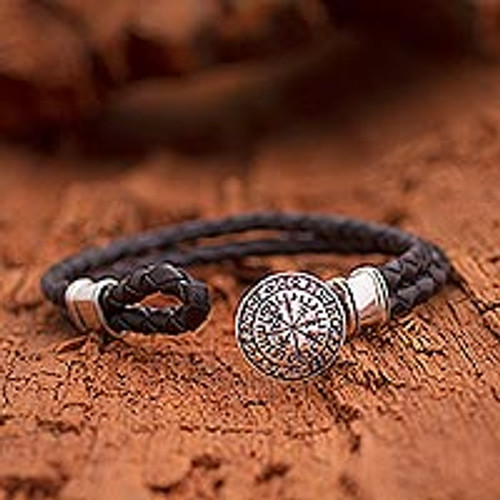 Men's Sterling Silver and Leather Viking Bracelet from Bali 'Viking Compass'