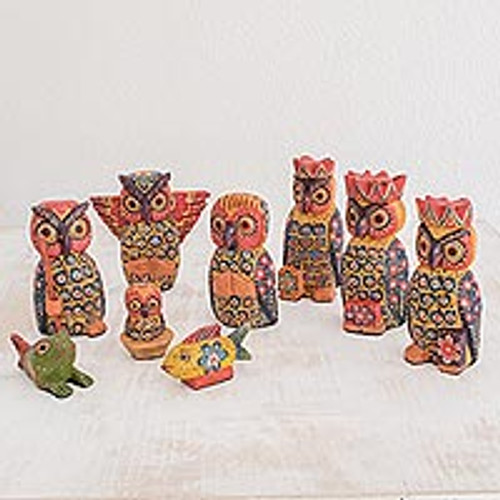 Owl-Themed Wood Nativity Scene from Guatemala (Set of 9) 'Sacred Owls'