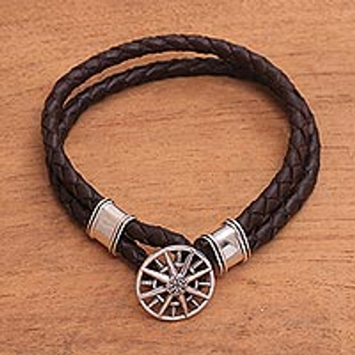Leather Braided Cord Bracelet with a Sterling Silver Compass 'True North'