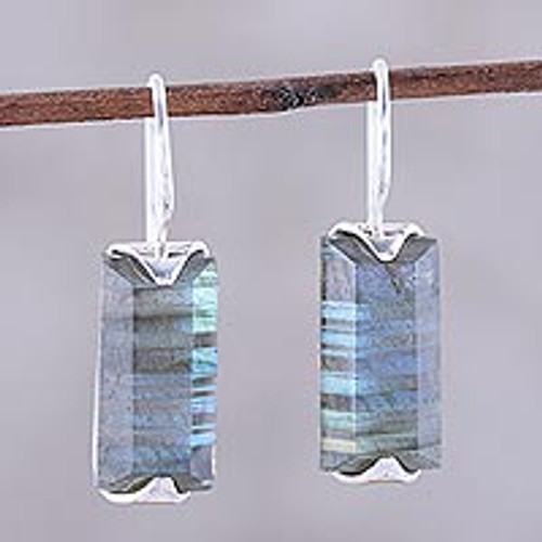 12-Carat Labradorite Drop Earrings from India 'Beautiful Aurora'