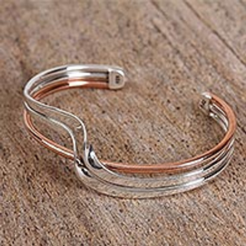 Sterling Silver and Copper Cuff Bracelet from Mexico 'Copper Stream'