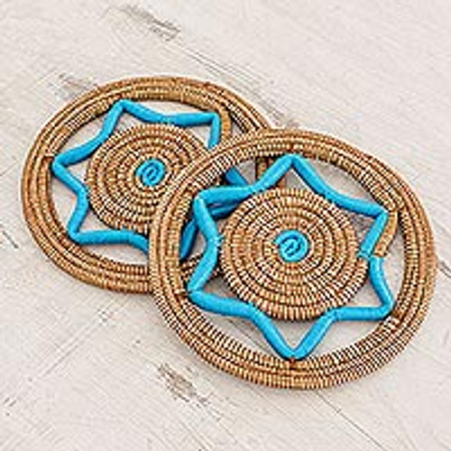 Handcrafted Pine Needle Trivets in Turquoise (Pair) 'Homestead Cuisine in Turquoise'