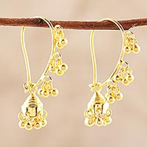 22k Gold Plated Sterling Silver Chandelier Earrings 'Golden Music'