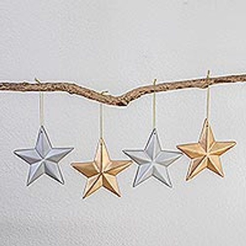 Silver and Gold Wood Star Ornaments (Set of 4) 'Silver and Gold'