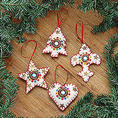 Handmade Beaded Wool Christmas Ornaments (set of 4) 'Christmas Charms'