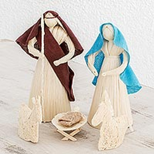 Natural Fiber Nativity Scene from Costa Rica (Set of 6) 'Peace and Unity'