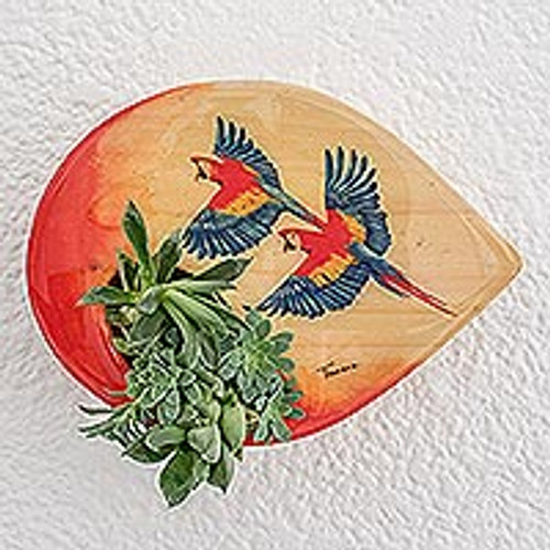 Hand-Painted Parrot-Themed Wood Wall-Mounted Planter 'Flying Macaws'