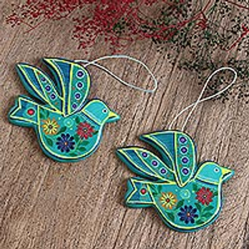 Teal and Colorful Floral Motif Ceramic Dove Ornaments (Pair) 'Delightful Doves in Teal'
