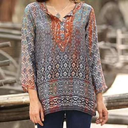 Artisan-Embroidered Tunic from India 'Fashionable Intricacy'