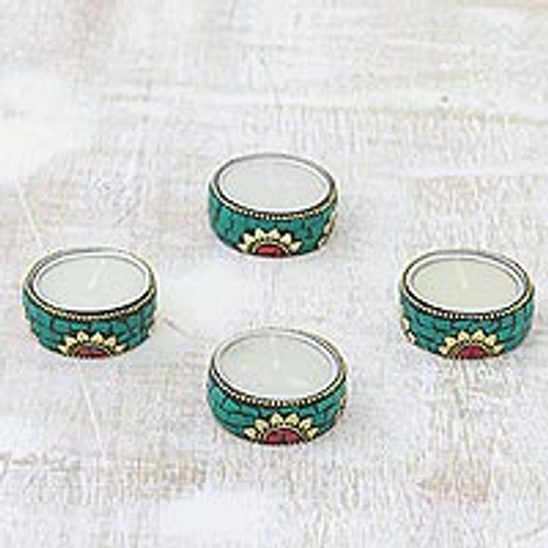 Floral Brass and Resin Tealight Holders in Green (Set of 4) 'Floral Glow in Green'