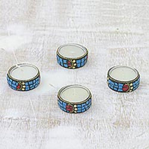 Aluminum and Resin Tealight Holders in Light Blue (Set of 4) 'Light Blue Shimmering Stars'