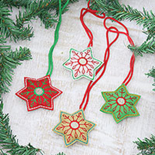 Embroidered Wool Snowflake Ornaments from India (Set of 4) 'Festive Snowflakes'