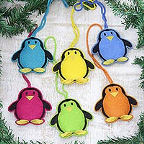 Assorted Wool Penguin Ornaments from India (Set of 6) 'Fascinating Penguins'