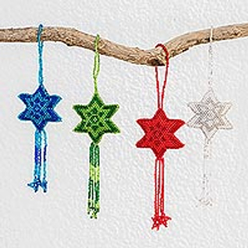 Glass Beaded Star Ornaments in Assorted Colors (Set of 4) 'Colorful Fleeting Stars'