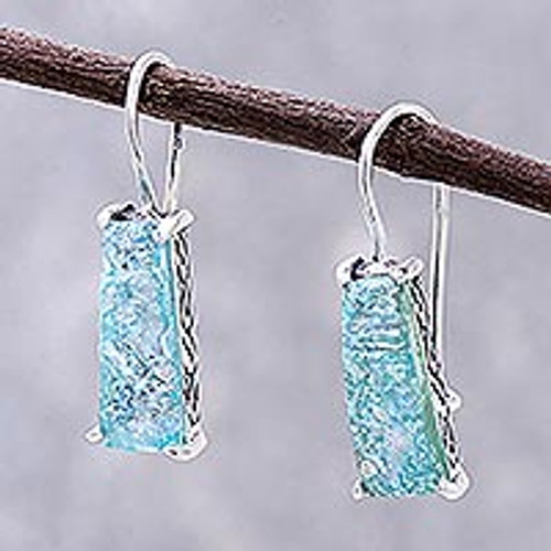 Handcrafted Roman Glass Drop Earrings from Thailand 'Roman Towers'