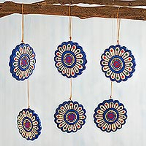 Hand-Painted Ceramic Flower Ornaments from Peru (Set of 6) 'Blooming Mandalas'