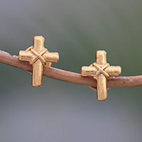Gold Plated Sterling Silver Cross Earrings from Bali 'Regal Cross'