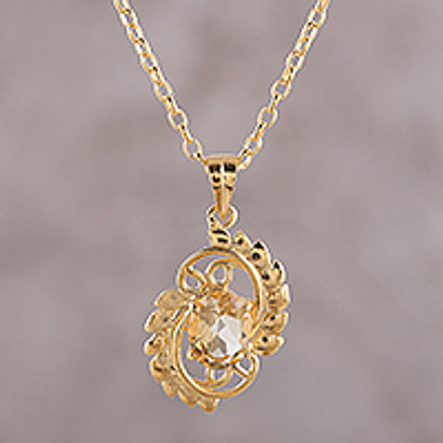 22k Gold Plated Sterling Silver and Citrine Pendant Necklace 'Golden Sunbeam'